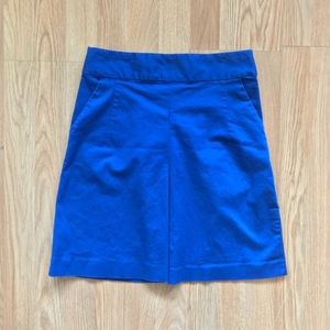 Express Blue Pencil Skirt with Exposed Zipper